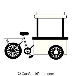 cibo, bianco, bicicletta, fondo, carrello