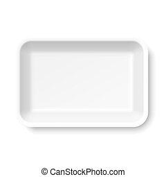 cibo, bianco, vassoio, styrofoam, vuoto