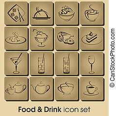 cibo bibita, icona, set