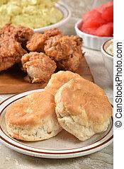 cibo, biscotti, pollo, picnic