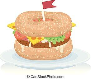 cibo, canada, bagel, illustrazione, hamburger