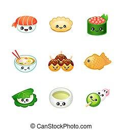 cibo, carino, giapponese, icone