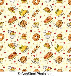 cibo, carino, seamless, modello