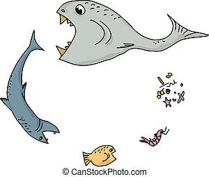 cibo, cartone animato, catena, oceano
