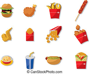 cibo, cartone animato, digiuno, icona