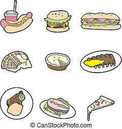 cibo, cartone animato, icona