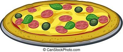 cibo, cartone animato, illustrazione, pizza