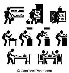 cibo, casa cucinando, preparare