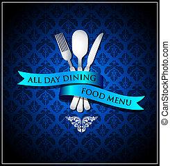 cibo, cenando, vettore, coperchio, menu