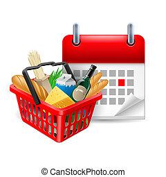 cibo, cesto, e, calendario