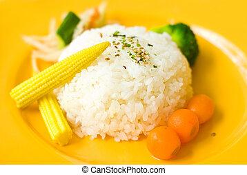 cibo cinese, in, piastra