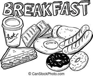 cibo colazione, in, scarabocchiare, stile