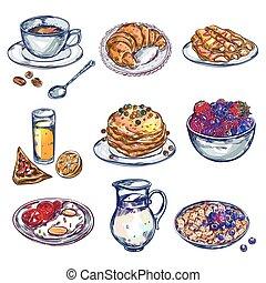 cibo, colazione, set, icona