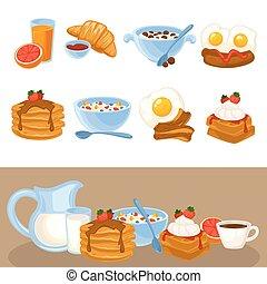 cibo, colazione, vettore, set