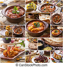 cibo, collage, buffet, vario, indiano