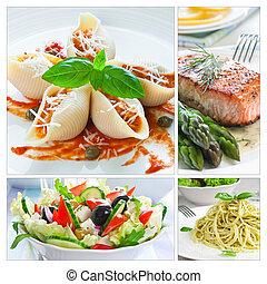 cibo, collage, mediterraneo
