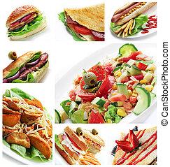 cibo, collage, ristorante