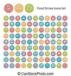 cibo, colpo, set, rotondo, icone