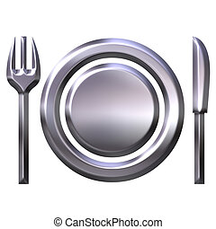 cibo, concetto, argento, 3d