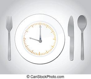 cibo, concetto, illustrazione, tempo