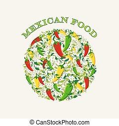 cibo, concetto, messicano, illustrazione, fondo