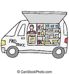 cibo, contatore, camion, mostra