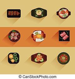 cibo, coreano, vettore, illustrazione, icona