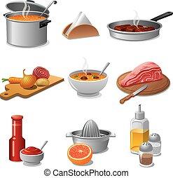 cibo, cottura, set, icona
