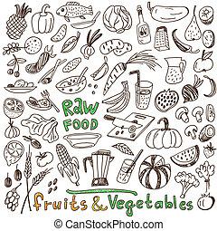 cibo, crudo, -, collezione, doodles