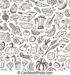 cibo, crudo, -, seamless, fondo
