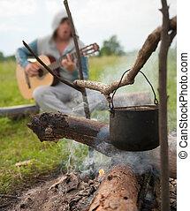 cibo cucina, campeggiare, calderone, fuoco, fresco, aperto