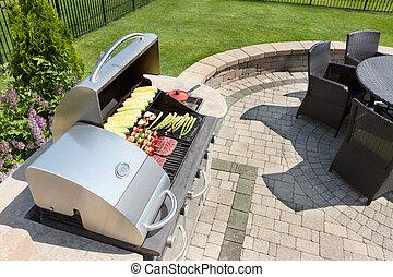 cibo, cuocere, esterno, gas, barbecue
