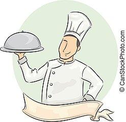 cibo, cupola, chef, portante, nastro, uomo
