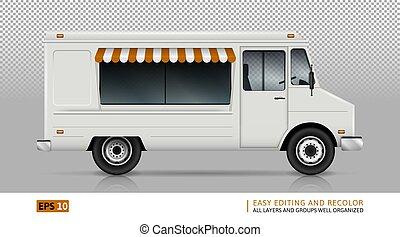 cibo, destra, camion, vista laterale