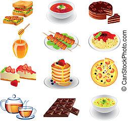 cibo, differente, tipi