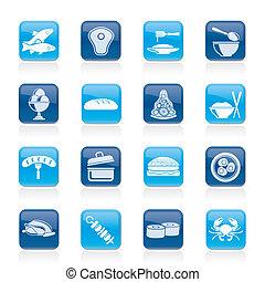 cibo, differente, tipo, icone