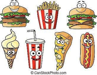 cibo, digiuno, isolato, caratteri, cartone animato