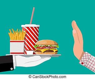 cibo, digiuno, mano, prendere, refuses, gesto, uomo