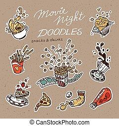 cibo, digiuno, objects., collezione, mano, disegnato