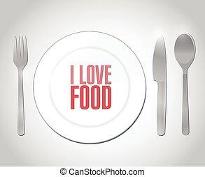 cibo, disegno, amore, illustrazione, ristorante