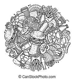 cibo, disegno, rotondo, digiuno