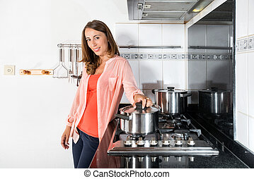 cibo, donna, domestico, cottura, cucina