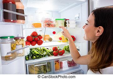 cibo, donna, ricerca, frigo