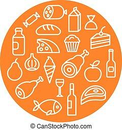 cibo, drogheria, icone