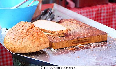cibo, esterno, picnic, bread