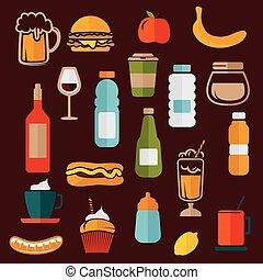 cibo, etichette, -, icone