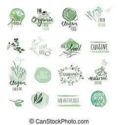 cibo, etichette, organico, tesserati magnetici