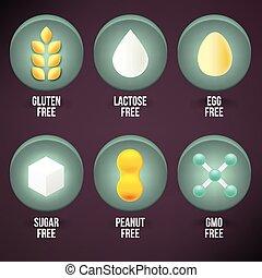 cibo, etichette, set, dietetico