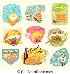 cibo, etichette, set, francese