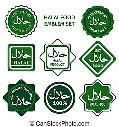 cibo, etichette, set, halal